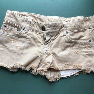 Cream/tan low rise jean shorts